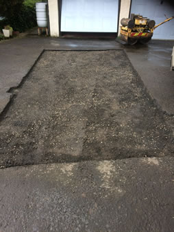 Tarmacadam patch repair Driveways before